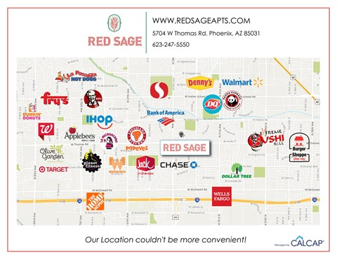 Red Sage Apartments Area Map